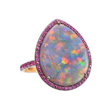 black opal pear shaped black opal cocktail ring with pink sapphire betteridge