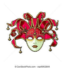jester mask decorated venetian carnival jester mask with bells and eps