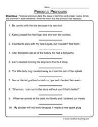 pronoun worksheet 1 personal pronouns pronoun worksheets