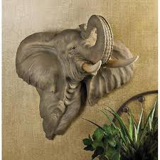 Elephant Wall Sconce Elephant Head Bust Hanging Wall Mount Home Decor Collection Statue