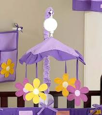 purple musical baby crib mobile for girls daisies flowers
