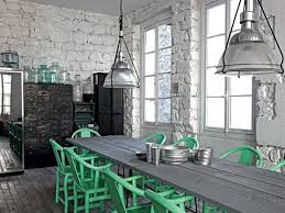 industrial kitchen ideas industrial kitchen ideas with green iron chairs and wooden