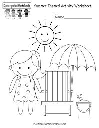 kindergarten summer themed activity worksheet printable summer