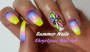 easy summer nail art rainbow flower nails khrystynas nail art