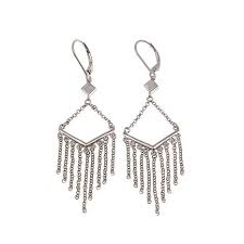 silver drop earrings waterfall fringe sterling silver drop earrings 8564302 hsn