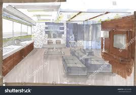 graphic sketch living room design markers stock illustration