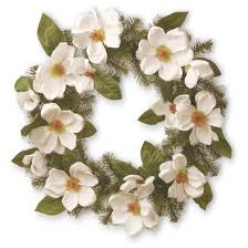 artificial valley spruce magnolia wreath white 24