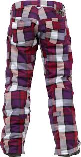 Powder Room Snow Pants Burton Fly Snowboard Pants Garnet Estate Plaid Looking Forward