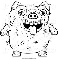 clip art of a black and white ugly pig by cory thoman 163076