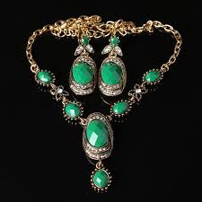 gold set in pakistan 2017 cheap pakistan style women gold chain green resin gem