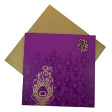 Marriage Invitation Card Design Marriage Invitation Card In Purple Peacock Feather Design
