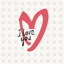 i love you with sketch of heart vector clipart image 70383