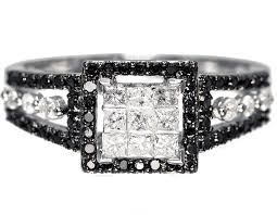 black and white engagement rings 14k white gold womens princess black white wedding