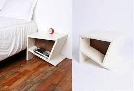 white creative side table with shelf for bedroom on natural wood