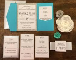 Pocket Invites Turquoise Invitation Etsy