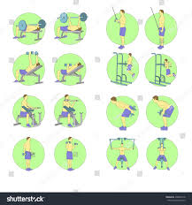 sportsmen pumping iron gym workout exercise stock vector 430887418