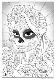 sugar skull colouring tearingcookie deviantart