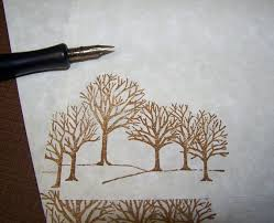 parchment writing paper winter trees vintage parchment paper letter writing set of