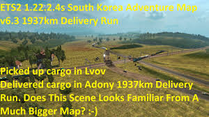 Map Your Run Ets2 1 22 2 4s South Korea Adventure Map V6 3 1937km Delivery Run