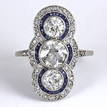 vintage art deco three stone diamond u0026 sapphire ring diamond ideals
