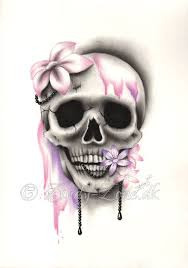 decay skull flower pink purple by zindyzone