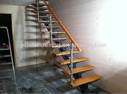 stainless steel wire handrail wood tread attic folding stairs