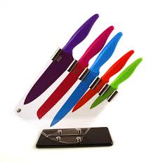 kitchen knives block s eye witness sloping 5 coloured knife block