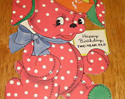 vintage birthday card 2 year old 1950 elephant with moving arm by