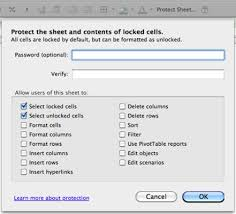 protect excel worksheets and lock cells in office 2011 for mac
