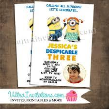 despicable me birthday photo invitations printable or invite prints