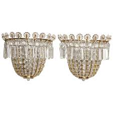Crystal Bathroom Light Fixtures by Pair Of Baguès Style Crystal Beaded Wall Sconces For Sale At 1stdibs