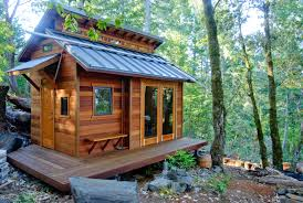 decorations rustic tiny house design ideas with brown wood deck