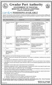 gwadar port authority jobs 2016 ministry of ports u0026 shipping