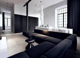 black and white home interior trend white home interior design with black l shaped sofa topup
