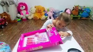 barbie makeup set tutorial for children kit for girls cute kids