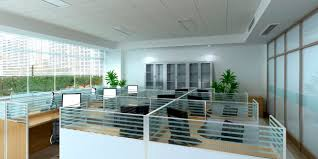 colorful office interior glass design with large partitions images