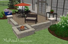 Backyard Brick Patio Design With Grill Station Seating Wall And by Large Rectangular Paver Patio Design With Fire Pit U2013 Mypatiodesign Com