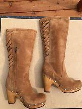 womens ugg boots wedge heel ugg emilie 1005665 boots chestnut brown leather wedge