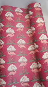 deco wrapping paper vintage 70s 80s pink flamingo deco style by sycamorevintage