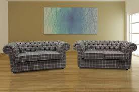 Grey Fabric Chesterfield Sofa by Buy Grey Tweed Fabric Chesterfield Sofa Suite Online