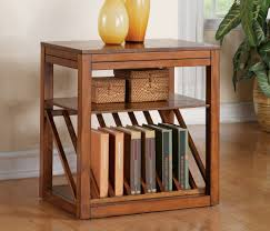Chair Side Table With Storage Diy Oak Chairside Table With Bookshelf Rack And Small Rattan