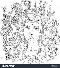vector image coloring pages adults mermaid stock vector 641347459