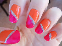 super easy and cute pink orange colorblock nails youtube