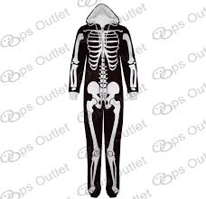 women ladies skeleton halloween all in one piece hooded playsuit