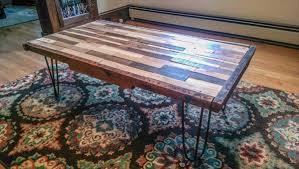 Wood Table With Metal Legs Diy Pallet Coffee Table With Metal Hairpin Legs 101 Pallets