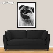 pug poster moustache art print 80s movember picture funny