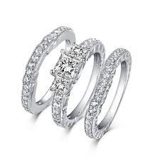 womens wedding ring sets tinnivi sterling silver princess cut created white sapphire 3