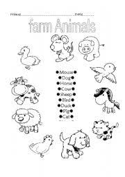 farm animals worksheet by ruthcaher