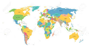 colorful word map with names of all countries royalty free