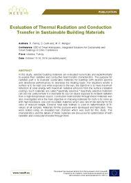 Sustainable Building Solutions Evaluation Of Thermal Radiation And Conduction Transfer In